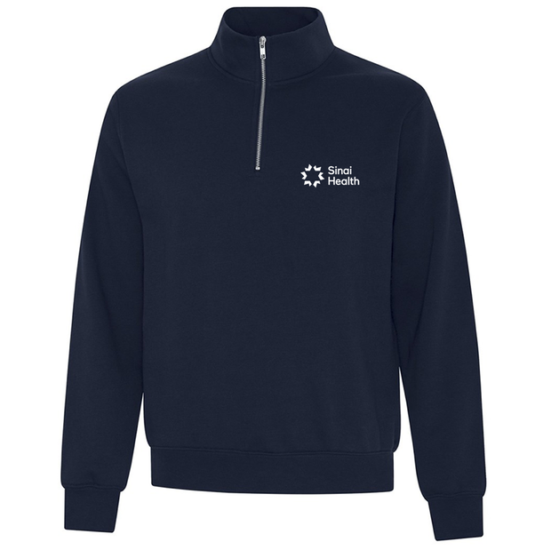 Personalized Sinai Health Branded Quarter-Zip Sweatshirt (Dark Blue)