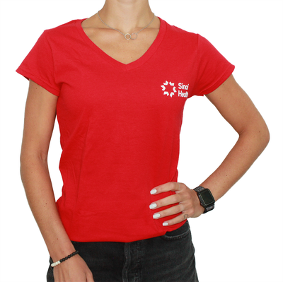 Sinai Health Women's V-Neck Cotton Tee (Red)