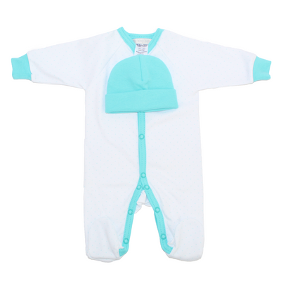 Itty Bitty Baby Preemie Footie Sleeper with Hat (Turquoise)