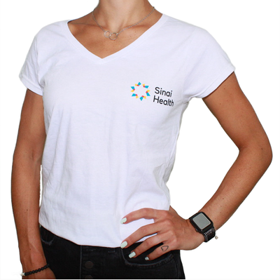 Sinai Health Women's V-Neck Cotton Tee (White)