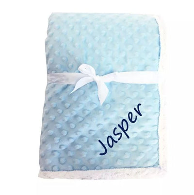 Personalized Popcorn Sherpa Blanket (Blue)