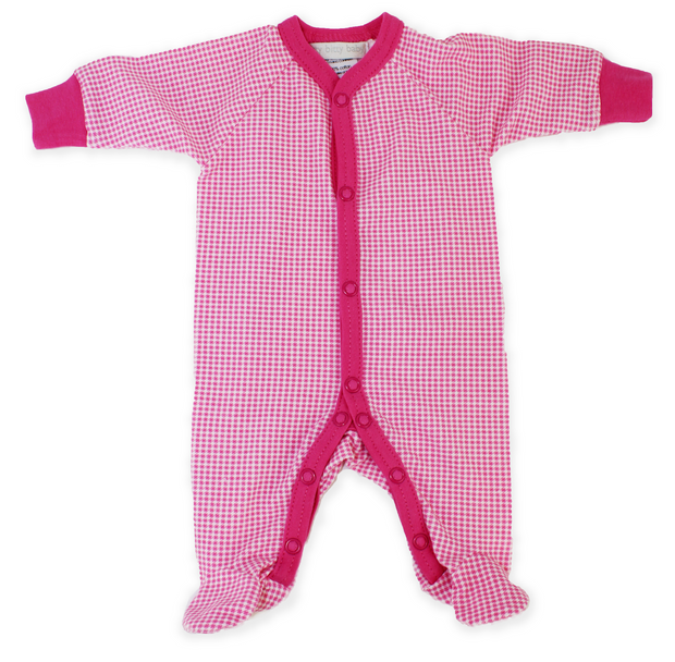 Itty Bitty Baby Pink Gingham Footie