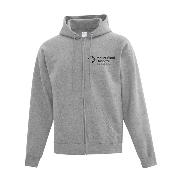 Personalized Mount Sinai Hospital Branded Full-Zip Hoodie Sweatshirt (Grey)