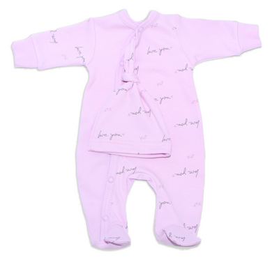 Itty Bitty Baby Love You Footie Sleeper (Mauve)