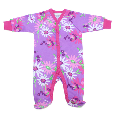 Itty Bitty Baby Purple Floral Footie