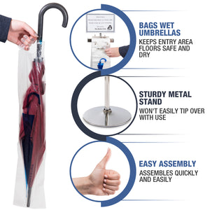 Wet Umbrella Bag Wrapping Stand - Includes Sign and 100 Bonus Bags