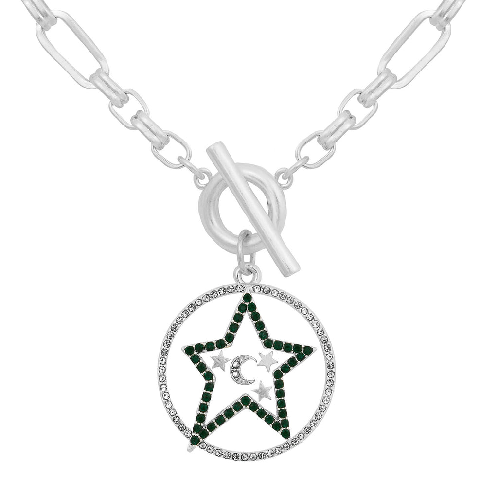 Celestial T-Bar Necklace - Silver
