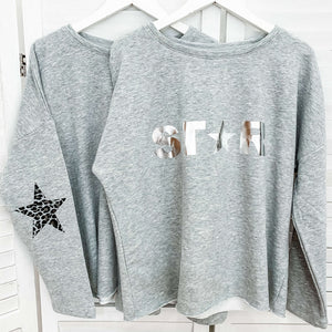 Leopard Elbow Star Sweatshirt