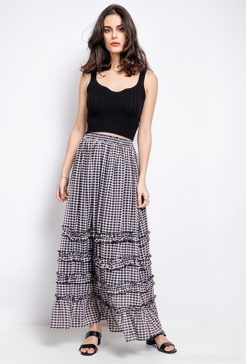 Black Gingham Maxi Skirt