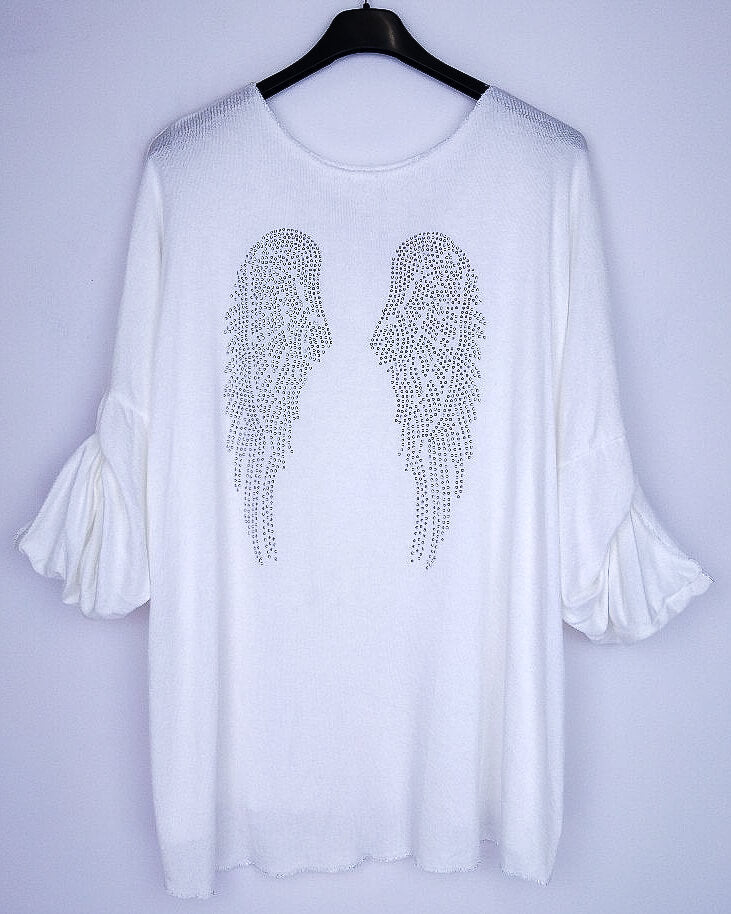 Sparkly Angel Wing Top - Winter White