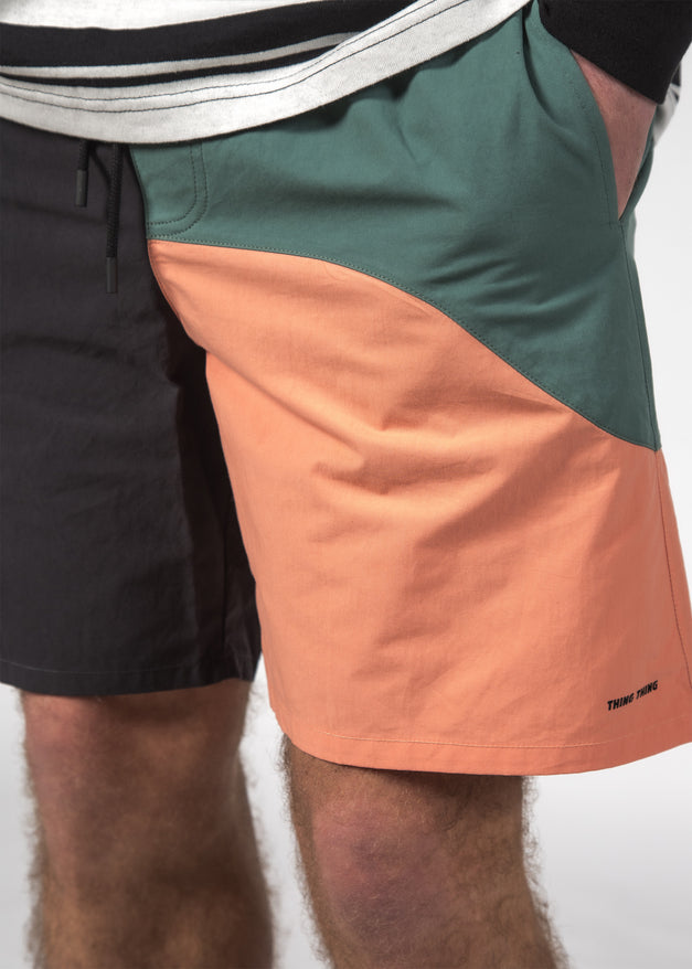 WAVY BEACH SHORT BLACK-CORAL-OCEAN