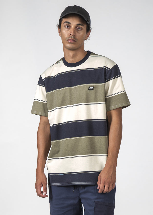 THE STRIPED MID TEE BOLD NAVY