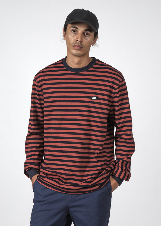 THE STRIPED REV LS TEE RED/STRIPE