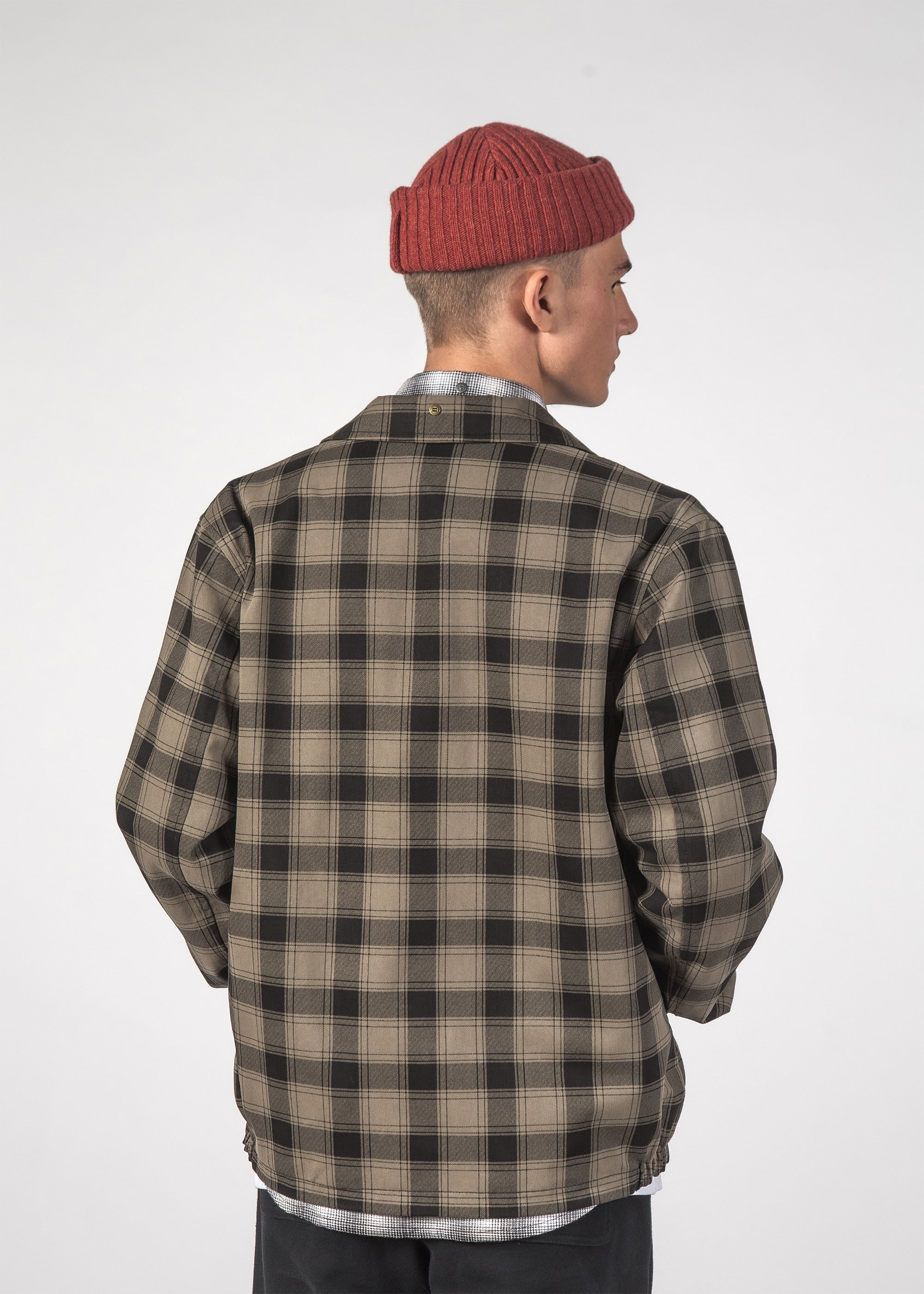 SALE - REVERSIBLE MACH JACKET - Khaki Plaid