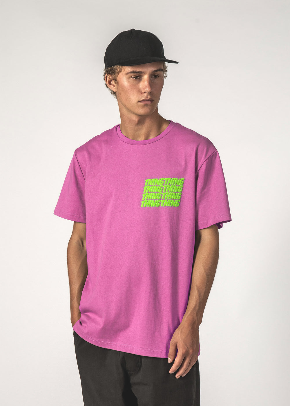 STACKER SS TEE - Magenta Stacker