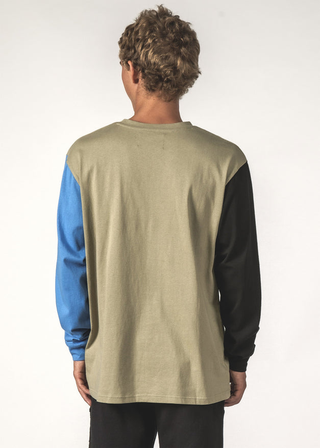 LS TEE - BLUE / BLACK / OAT