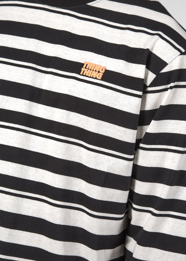 STRIPED L/S TEE BW STRIPE