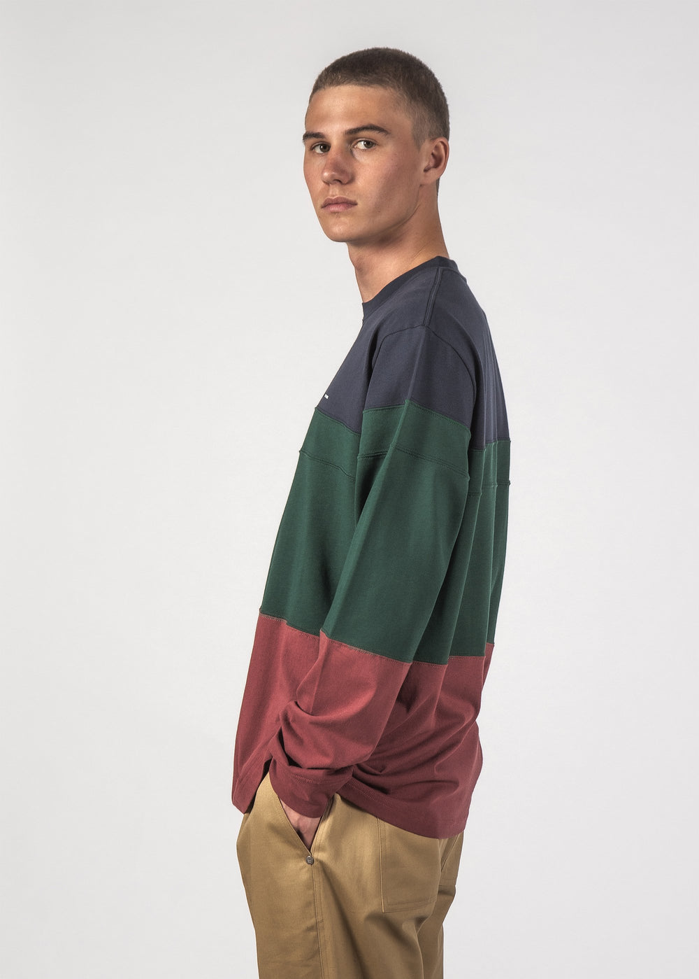 DICED L/S TEE - NAVY/FOREST/SIENNA