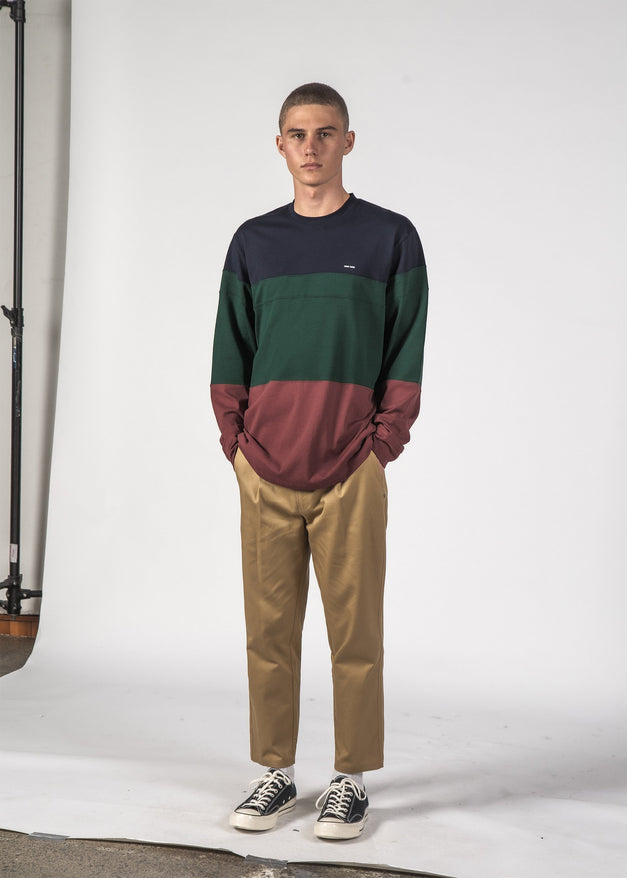 DICED LS TEE - Navy/Forest/Sienna