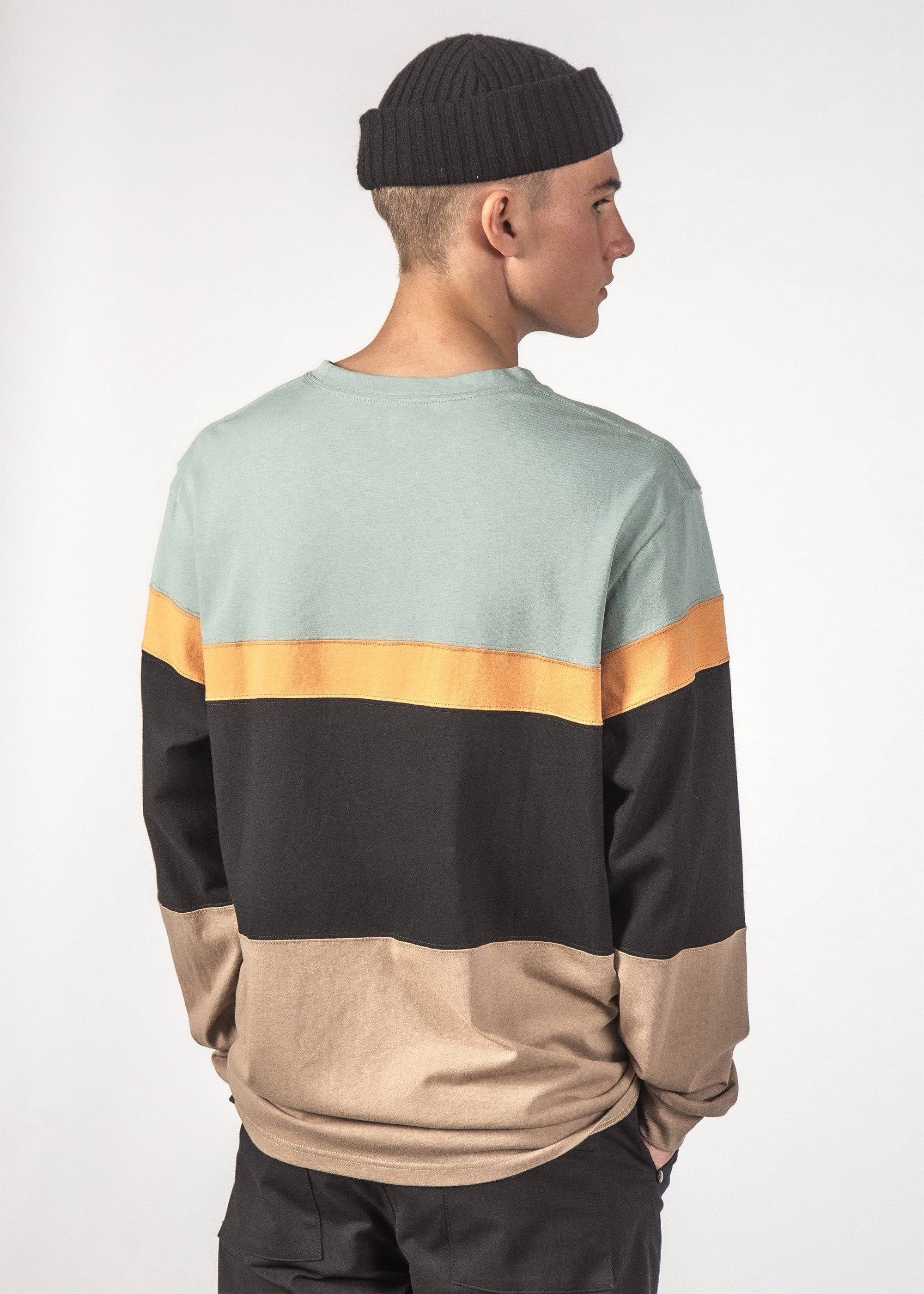 DICED L/S TEE - SEA/BLACK