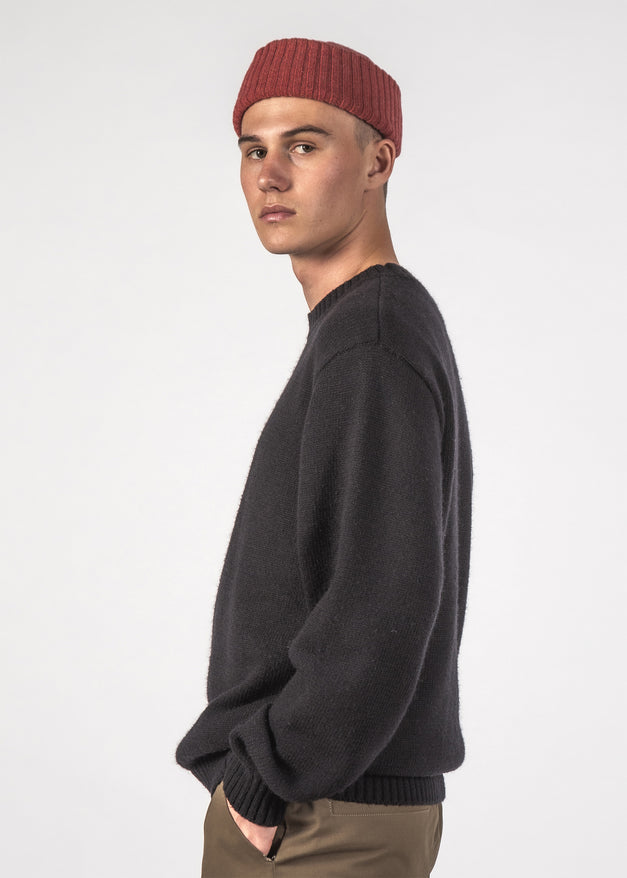 WOOL HALL SWEATER - BLACK