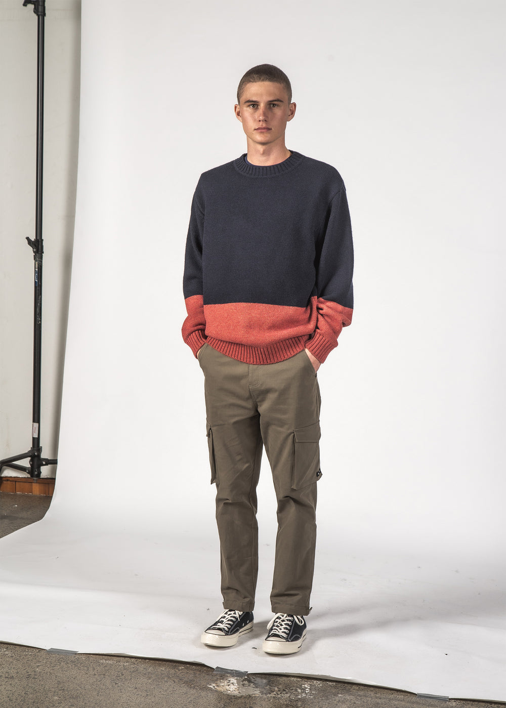WOOL HALL SWEATER - NAVY/RUST