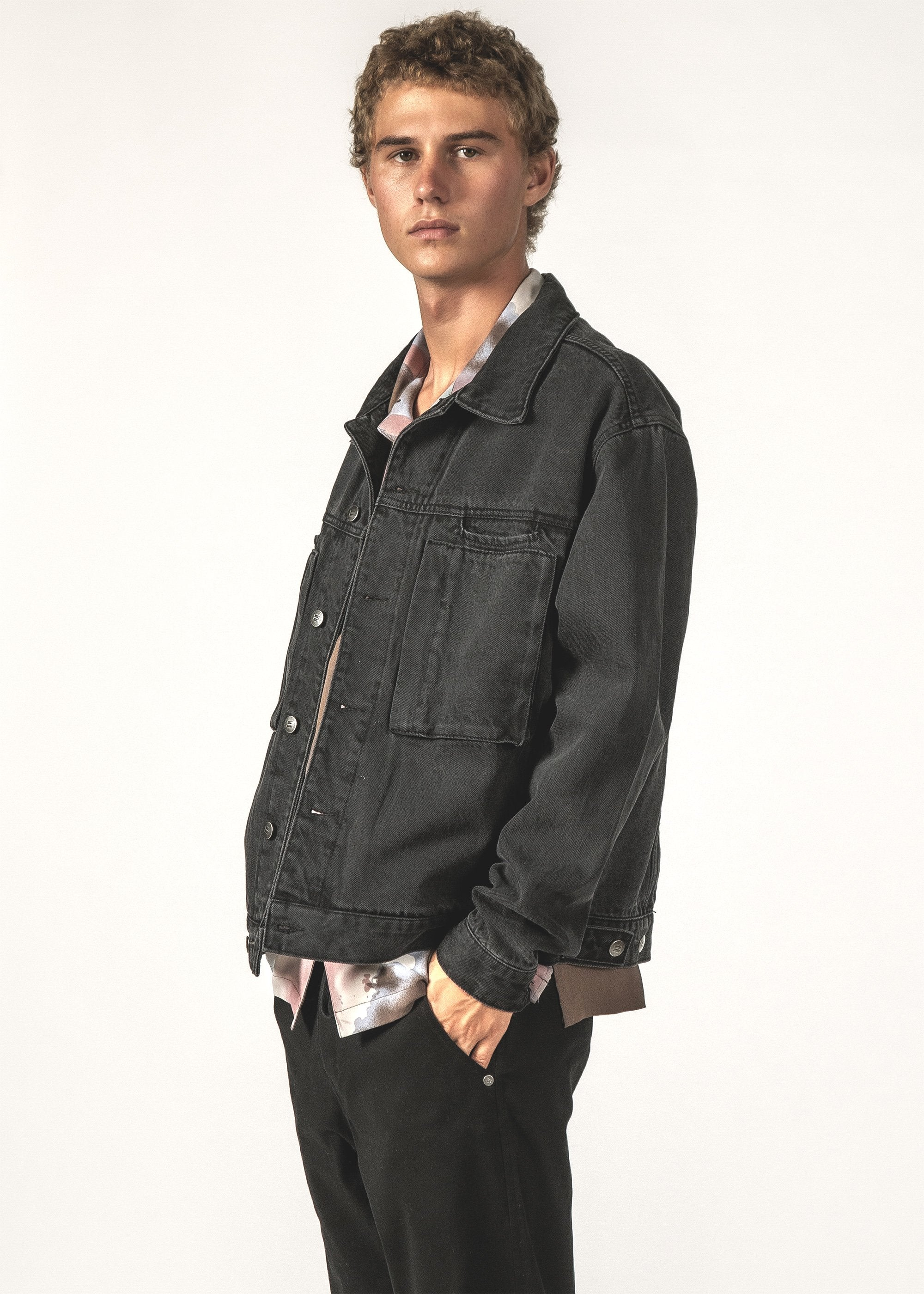 SALE - EGO DENIM JACKET - Black Wash