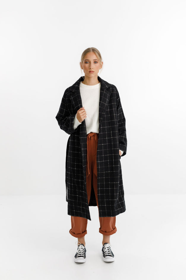 CLEMENT COAT - Black White Grid