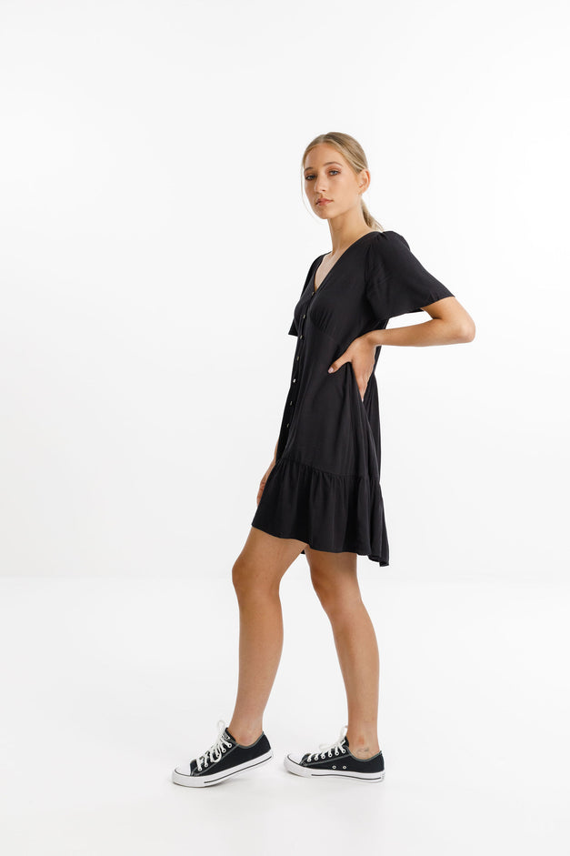 HAPPY TIMES DRESS - Black Rayon