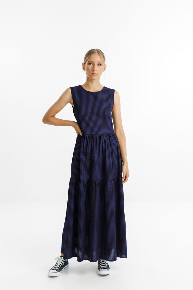 POPPY DRESS LONG - Stripe Midnight