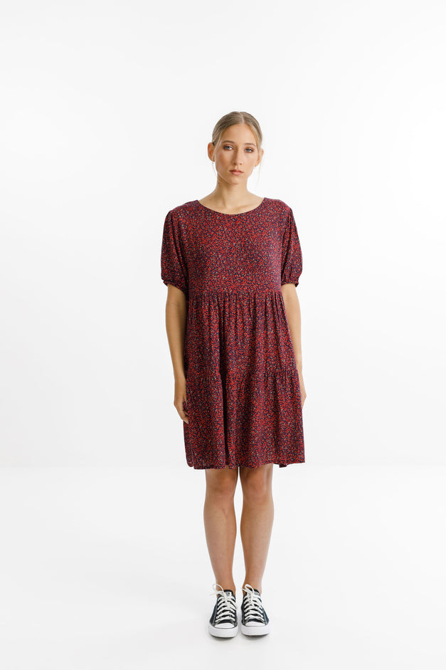 WHIRL DRESS - Ditsy Red