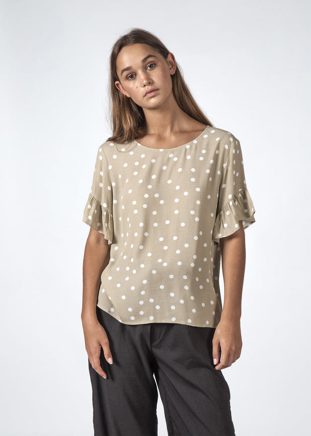 THE DILLY TOP BEIGE POLKADOT