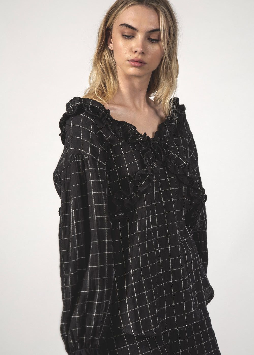SALE - ZIGZAG TOP - Black Grid