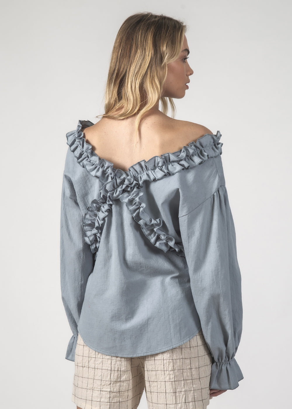 THE ZIGZAG TOP - BLUE CRINKLE