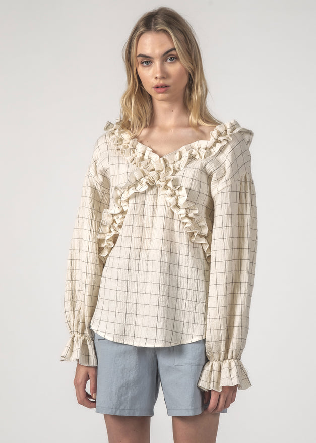 THE ZIGZAG TOP - CREAM GRID