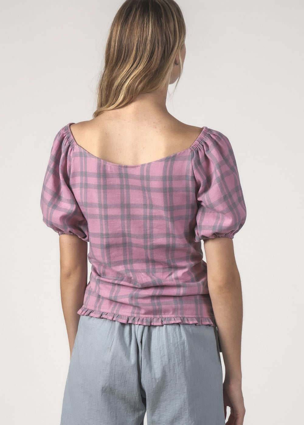 PEPPY TOP - Blush Check