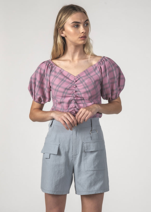 SALE - PEPPY TOP - Blush Check