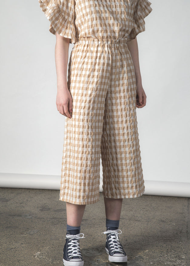 ZIPPY CULOTTE CRINKLE GINGHAM