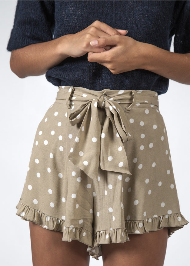 THE ENDLESS SHORT BEIGE POLKADOT