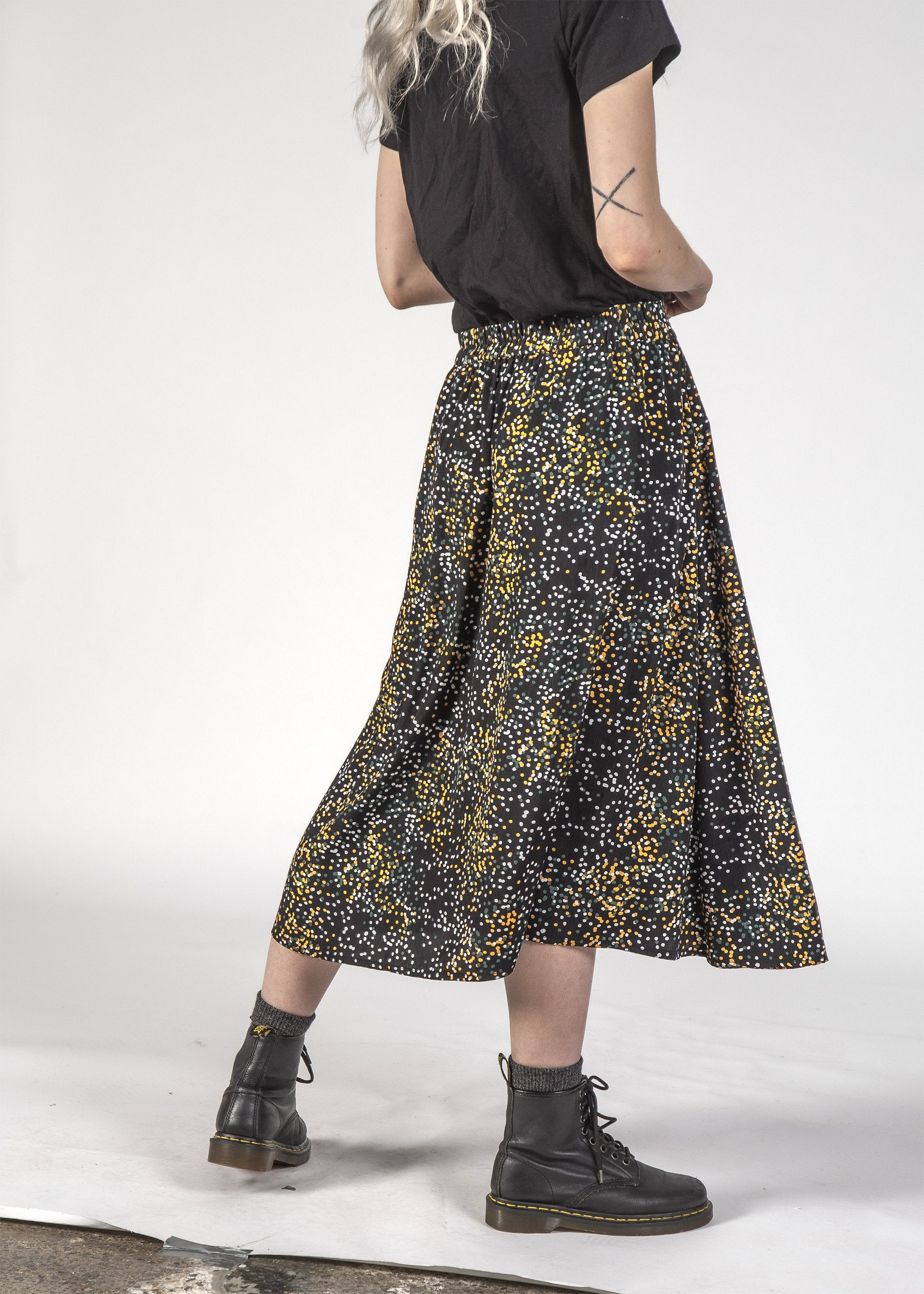 SALE - FREEDOM SKIRT - Black Mini Blotch