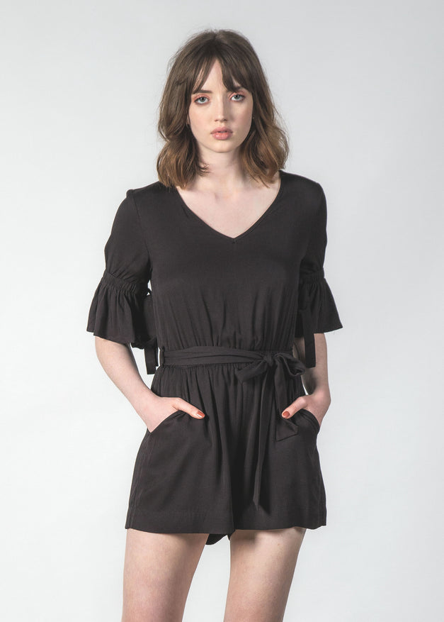 TRESPASS PLAYSUIT BLACK