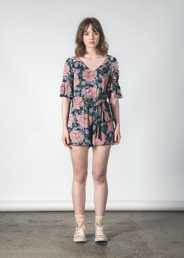 TRESPASS PLAYSUIT BLUSH PEONY