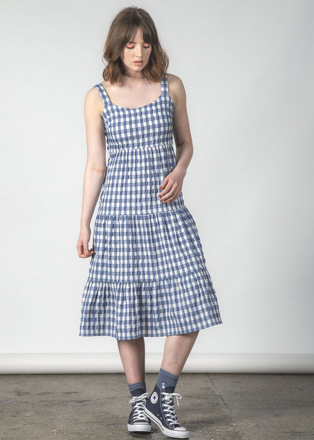SUNDOWNER DRESS BLUE CRINKLE GINGHAM