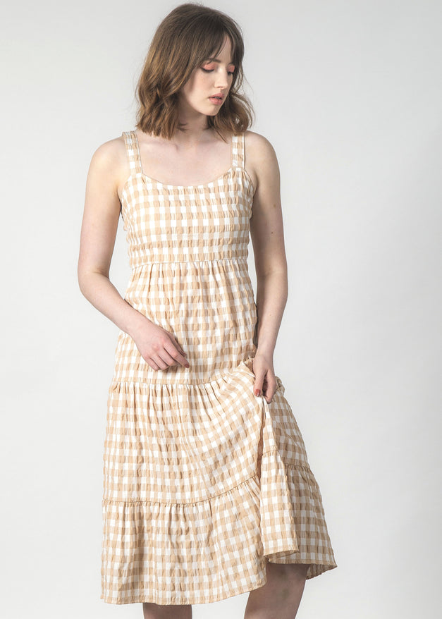 SUNDOWNER DRESS CRINKLE GINGHAM