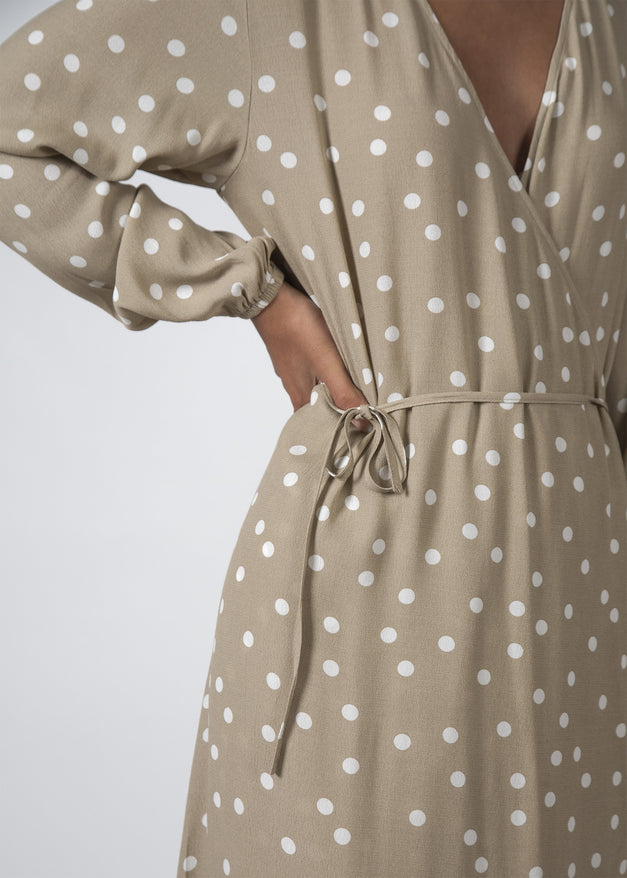 THE MILLIE DRESS BEIGE POLKADOT
