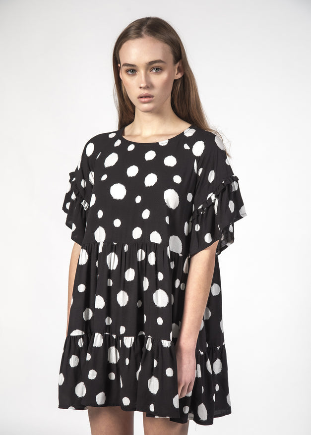 PLAYFUL DRESS BLACK DOTTY