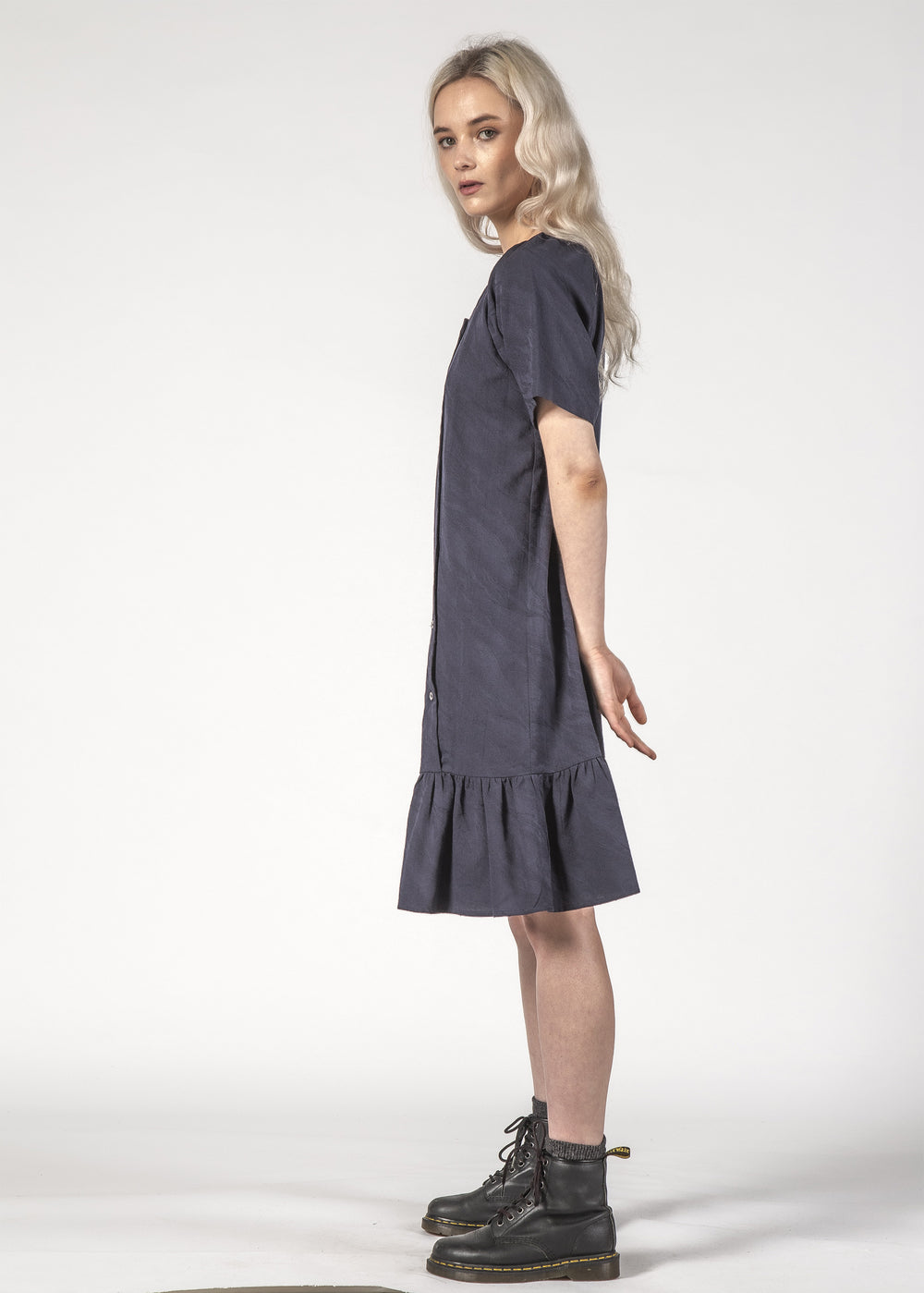 CASSIDY DRESS - NAVY CRINKLE