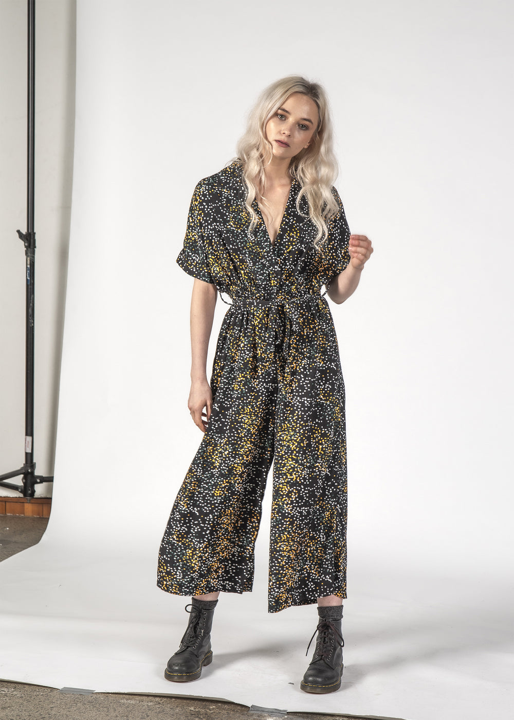 WILDCAT JUMPSUIT - BLACK MINI BLOTCH