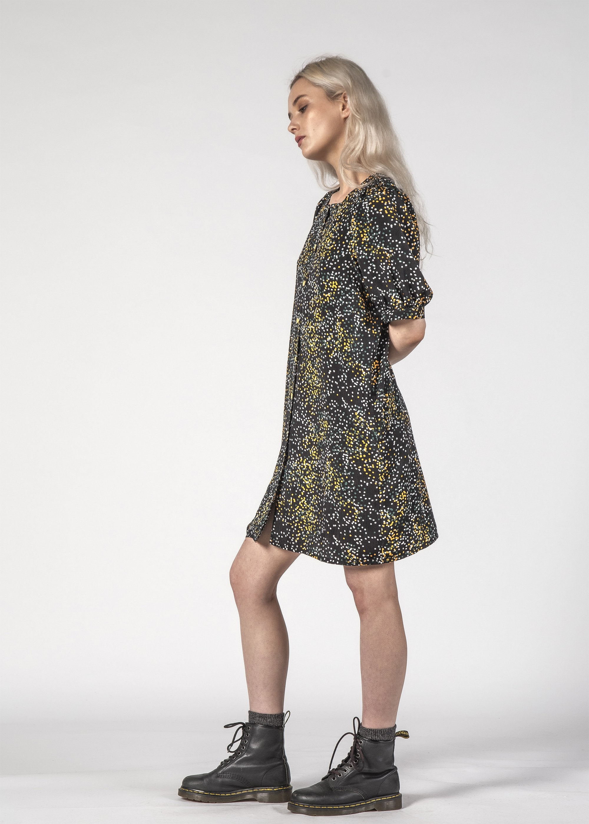 SALE - SMALL TALK DRESS - Black Mini Blotch