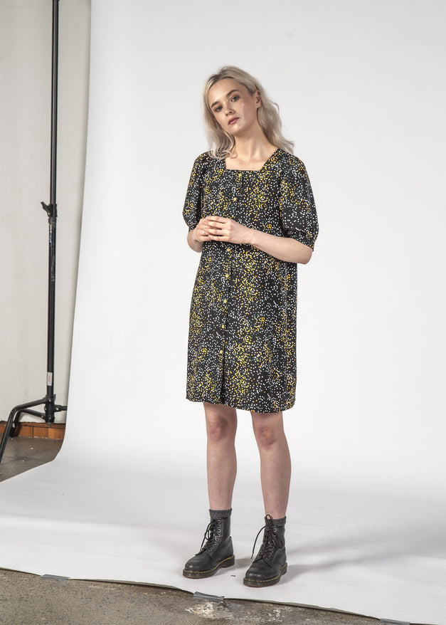 SMALL TALK DRESS - BLACK MINI BLOTCH